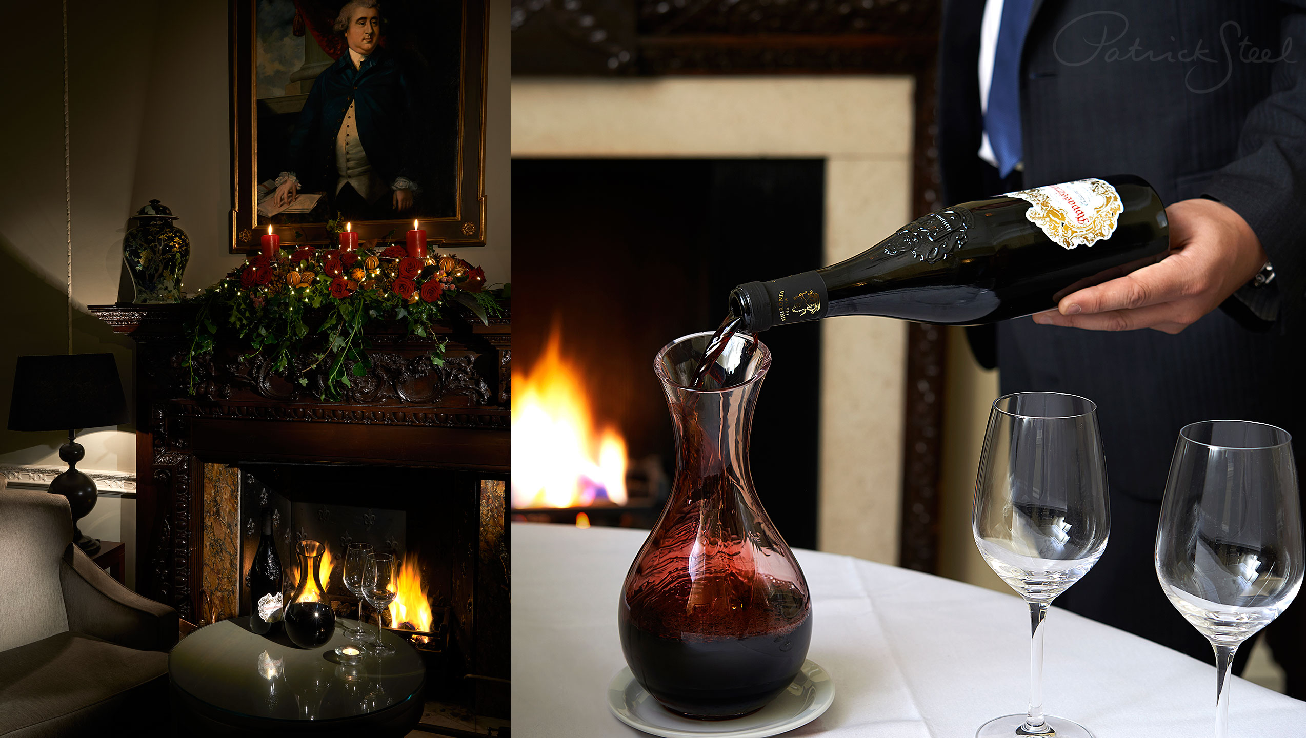 photograph professional Interiors Photographer Patrick Steel London pouring wine decanter